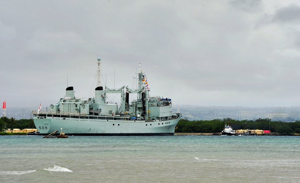 The Royal Canadian Navy auxiliary oil replenishment ship HMCS Protecteur arrives to Joint Base Pearl Harbor-Hickam after participating in the exercise Koa Kai 14-1 with U.S. Navy ships at Pearl Harbor, Jan. 31, 2014. (U.S. Navy / Mass Communication Specialist 3rd Class Diana Quinlan)