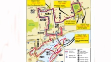 This map indicates the temporary street closures required for the marathon.