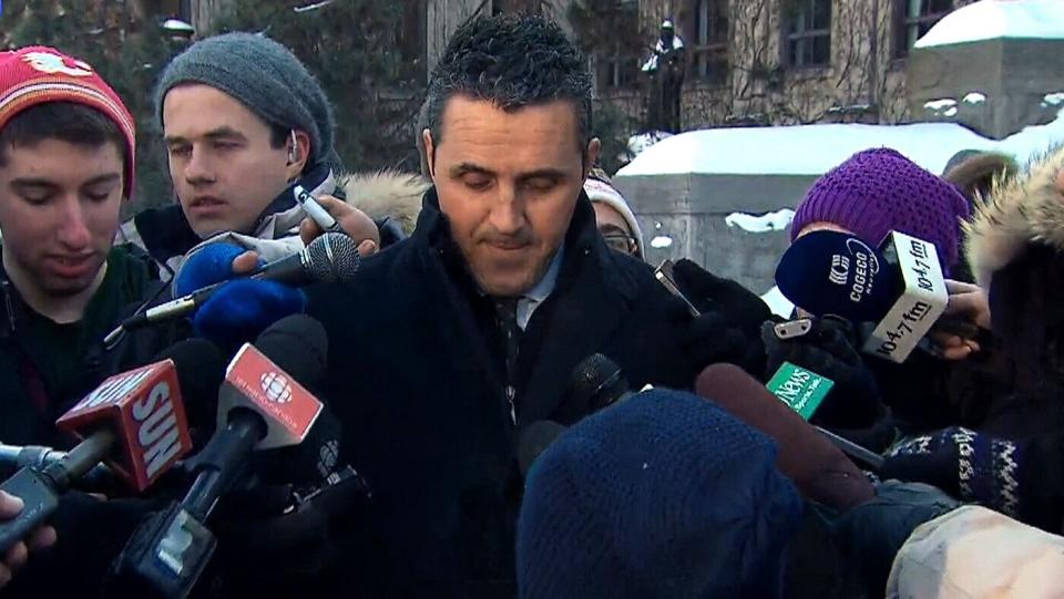 University of Ottawa spokesman Patrick Charette speaks about the suspended men's varsity hockey program, Monday, March 3, 2014.