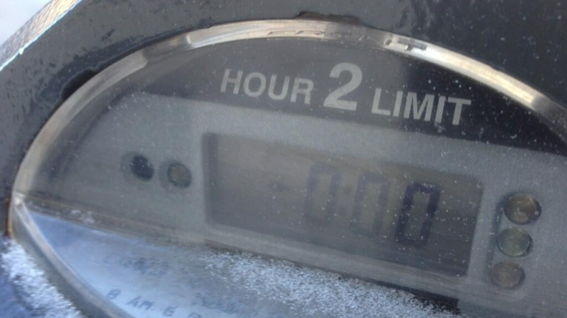 A parking meter is seen in London, Ont. on Monday, Feb. 3, 2014. (Bryan Bicknell / CTV London)