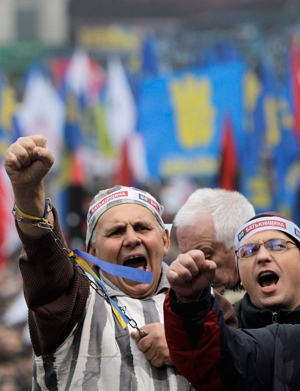Protesters in Kyiv, Ukraine on Nov. 24, 2013