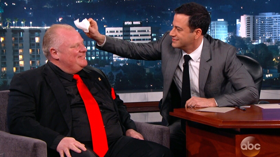 Toronto Mayor Rob Ford appeared as a guest on 'Jimmy Kimmel Live' in Los Angeles, Monday, March 3, 2014.
