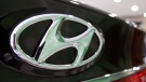 The logo of Hyundai Motor Co. is seen on its car at the company's showroom in Seoul, South Korea on July 26, 2012. (AP / Ahn Young-joon)