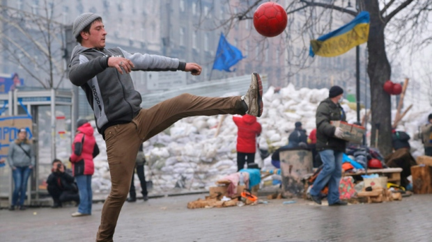 Playing football in Kyiv's Independence Square