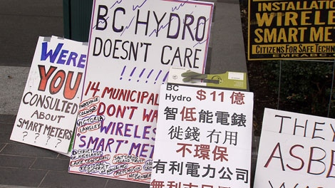 Protesters outside the UBCM annual meeting asked for B.C. mayors to stop a plan to place smart meters in every home. Sept. 26, 2011. (CTV)