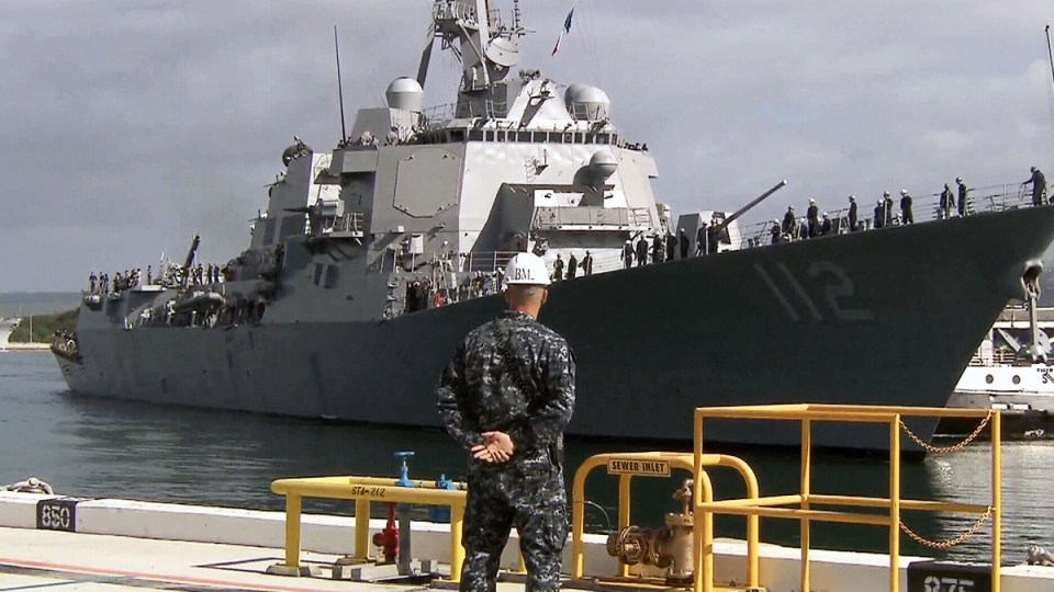 USS Michael Murphy arrives at Hawaii's Pearl Harbour on March 4, 2014.