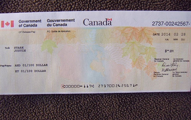 The family of Cpl. Justin Stark, who died of suicide in October 2011, received a cheque dated Feb. 28, 2014 from the Government of Canada for one cent.