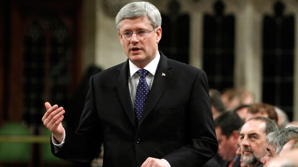 Prime Minister Stephen Harper stands in the House of Commons during Question Period on Parliament Hill, in Ottawa Tuesday, March 4, 2014. (Fred Chartrand / THE CANADIAN PRESS)
