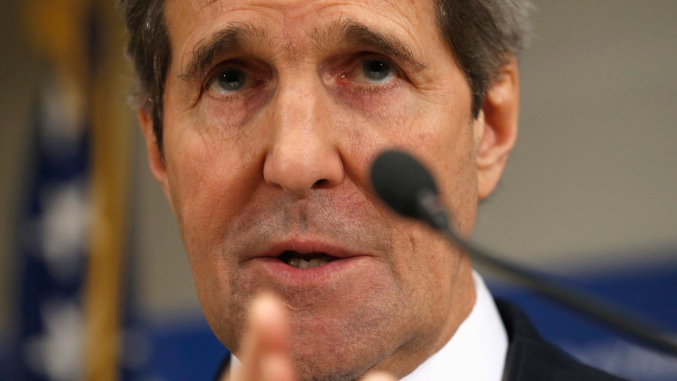 Secretary of State John Kerry speaks during a news conference at the U.S. Embassy in Kyiv, Ukraine, Tuesday, March 4, 2014. (AP / Kevin Lamarque)