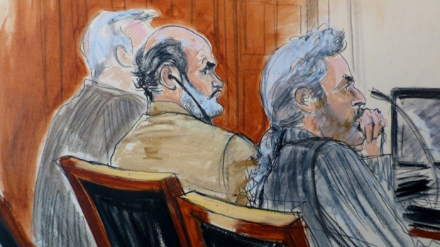 Sulaiman Abu Ghaith, centre, in NYC court.