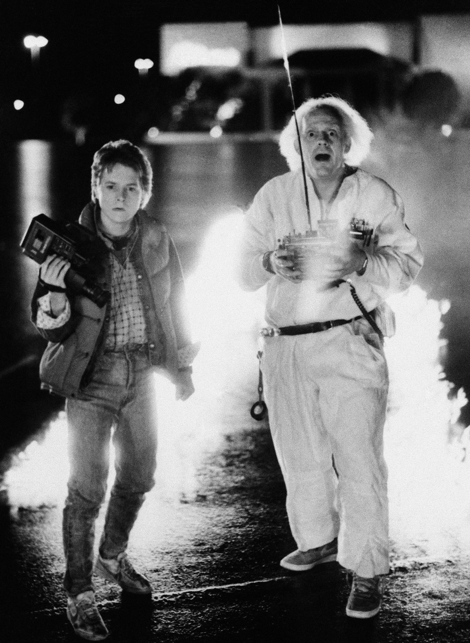 This 1985 file photo originally released by Universal Pictures shows Michael J. Fox as Marty McFly, left, and Christopher Lloyd as inventor Doctor Emmett Brown in a scene from the film, 'Back to the Future.' (AP / File)