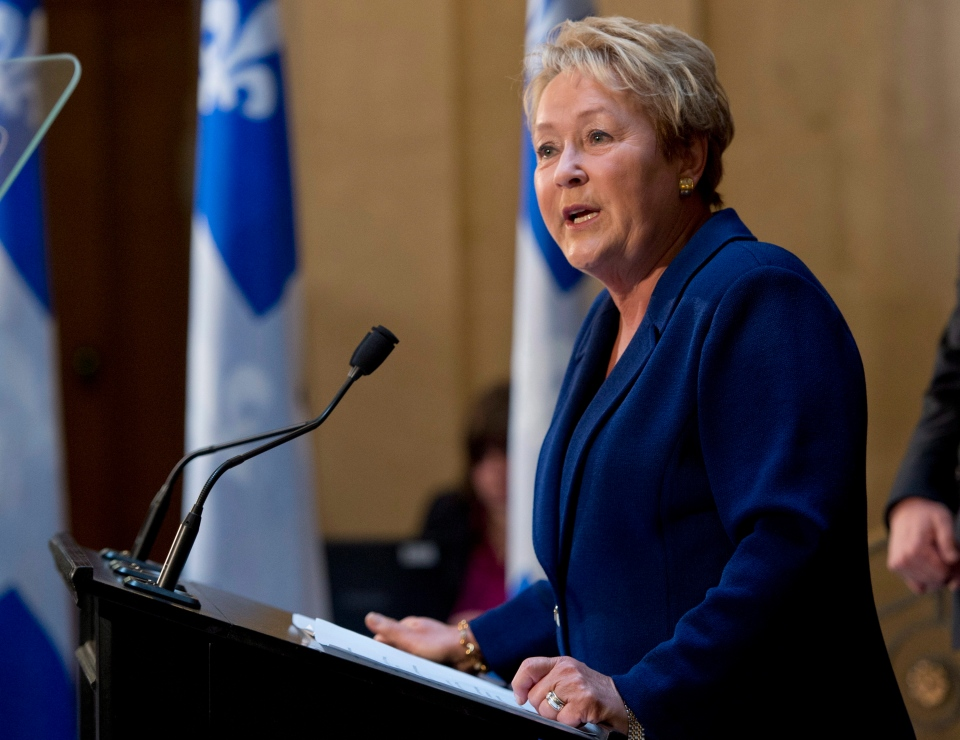 Quebec Premier and Parti Quebecois Leader Pauline Marois calls for a provincial election in Quebec City, Wednesday, March 5, 2014. (Jacques Boissinot / THE CANADIAN PRESS)