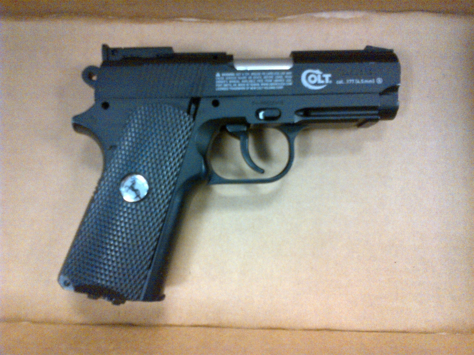 A Colt Defender BB gun is shown in this picture from the Windsor Police Service. A number of BB gun shootings have been reported to police in Waterloo's university district in recent days.