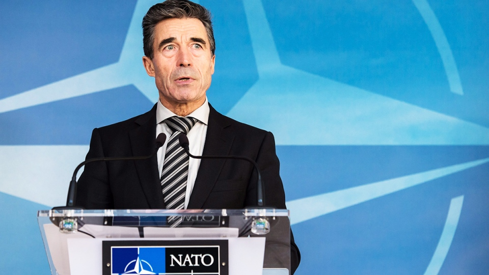 NATO Secretary General Anders Fogh Rasmussen addresses the media at NATO headquarters in Brussels, Tuesday March 4, 2014. (AP / Geert Vanden Wijngaert)
