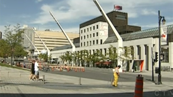 Ste.Catherine St. near Place des Arts finally re-opened to traffic Monday. (Sept. 26, 2011)