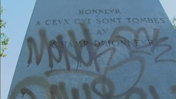 A cenotaph was vandalized in NDG's Girouard Park Sunday. (Sept. 26,2011)