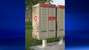 A mock-up of the new Canada Post community mailboxes is pictured. (Canada Post)