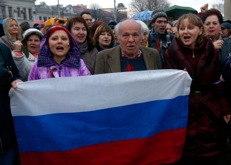 Pro-Russian supporters chant slogans during a rally at a central square in Simferopol, Ukraine, Wednesday, March 5, 2014. (AP / Sergei Grits)