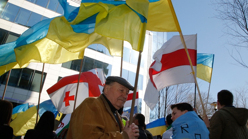 Pro-Ukrainian protesters wave flags during a demonstration outside of an EU summit in Brussels on Thursday, March 6, 2014. (AP Photo/Michel Euler)