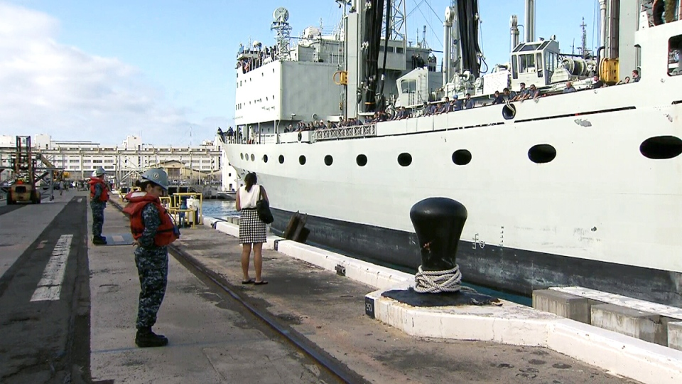 HMCS Protecteur arrives at Pearl Harbor in Hawaii on Thursday, March 6, 2014.