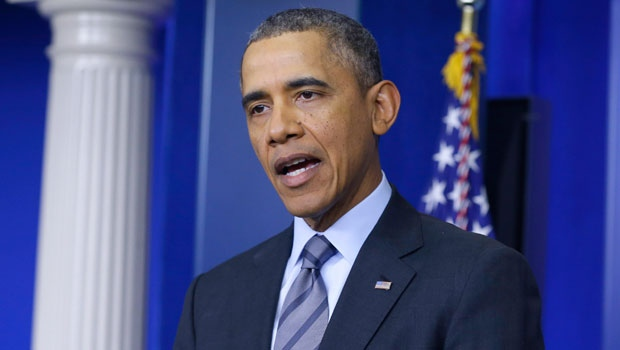 U.S. President Barack Obama talks about the situation in Ukraine, in the briefing room of the White House in Washington, March 6, 2014. (AP / Manuel Balce Ceneta)