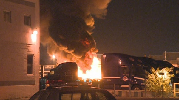 The arson squad is investigating after a truck parked in a lot caught fire. Damage is estimated at $200,000 (Sept. 27, 2011)
