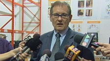 Regina Food Bank CEO Wayne Hellquist speaks to media on at a news conference Tuesday.
