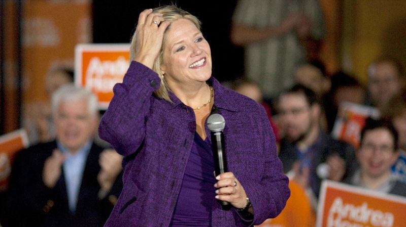 NDP Leader Andrea Horwath attends a rally with supporters the morning after the televised debate as she continues her campaign in Toronto on Wednesday, Sept. 28, 2011. (Chris Young / THE CANADIAN PRESS)