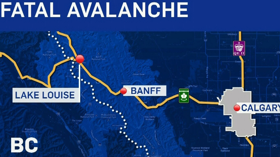 Two people have been killed in an avalanche in Alberta near Lake Louise, Saturday, March 8, 2014.