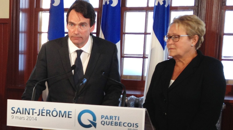 Pierre Karl Peladeau is seen here announcing his c