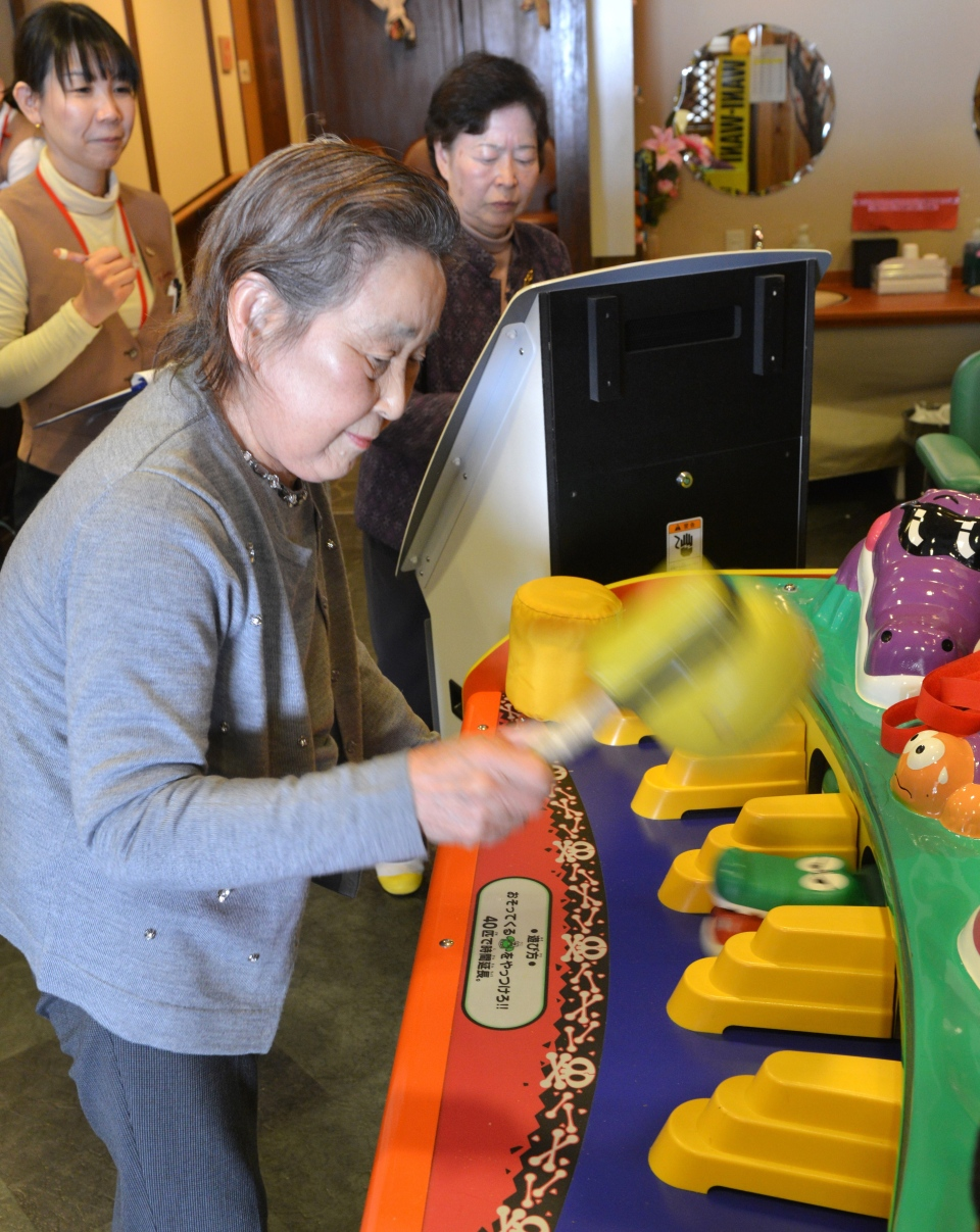 An elderly women plays a game at Kaikaya Ltd., a nursing home in suburban Tokyo, on Feb. 7, 2014. (AFP PHOTO / Yoshikazu Tsuno)