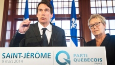 Pierre Karl Peladeau with PQ Leader Pauline Marois