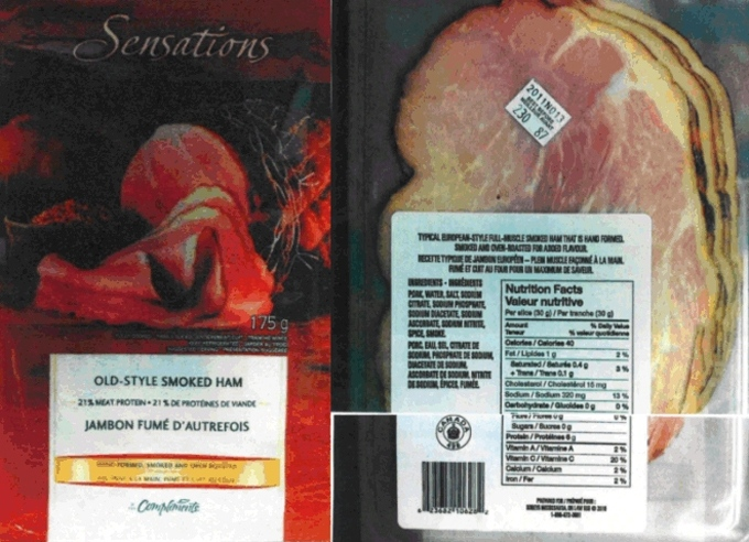 Some Compliments Sensations Old Style Smoked Ham may be contaminated with listeria. (CFIA handout photo)