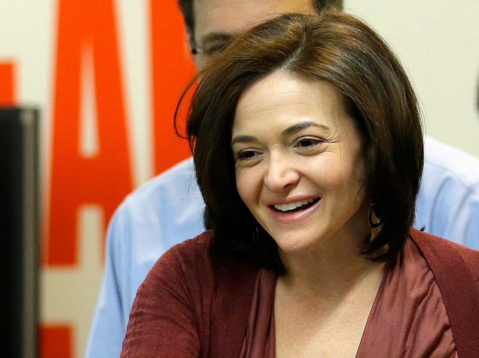 This Jan. 15, 2013 file photo shows Facebook chief operating officer Sheryl Sandberg at Facebook headquarters in Menlo Park, Calif. (AP / Jeff Chiu)