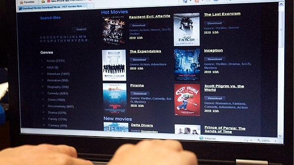 This file photo shows a website that offers the latest pirated movies and music for free download.  (THE CANADIAN PRESS/Ryan Remior)