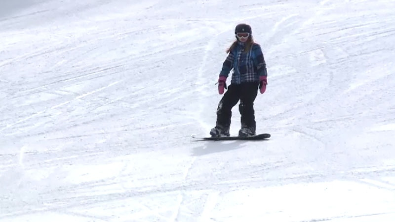 A snowboarder hits the slopes at New Brunswick's Poley Mountain ski resort. (CTV Atlantic)