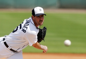 Detroit Tigers starting pitcher Justin Verlander throws during the first inning of a spring exhibition baseball game against the Toronto Blue Jays in Lakeland, Fla., Tuesday, March 11, 2014. (AP / Carlos Osorio)
