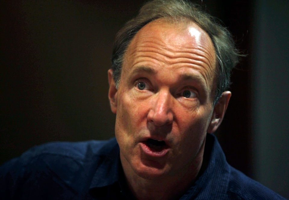 In this Thursday, March 31, 2011 file photo, World Wide Web inventor Tim Berners-Lee addresses the media during the International World Wide Web conference in Hyderabad, India. (AP / Mahesh Kumar A.)