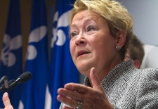Pauline Marois speaks in Quebec City