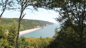The view of a secluded beach on the Bay of Fundy as viewed from a scenic lookout along New Brunswick's Fundy Trail. (Kevin Bissett / THE CANADIAN PRESS)