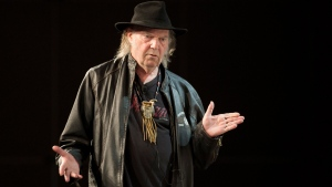 Neil Young speaking during SXSW 2014 Music Festival in Austin, Texas on Tuesday, March 11, 2014.  (Austin American-Statesman, Jay Janner)
