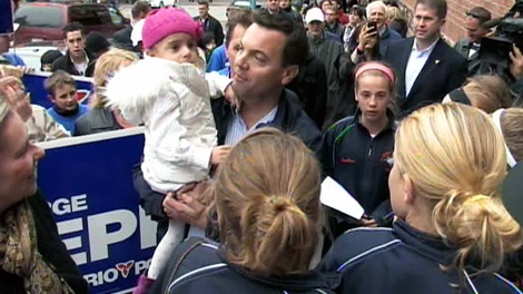 PC leader Tim Hudak hits the campaign trail on October 1, 2011.