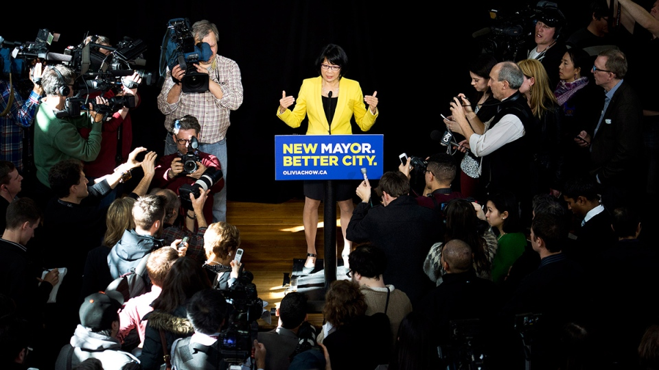 Olivia Chow speaks to the media after she officially entered into the race as a candidate in the upcoming fall Toronto mayor election in Toronto on Thursday, March 13, 2014. (Nathan Denette / THE CANADIAN PRESS)