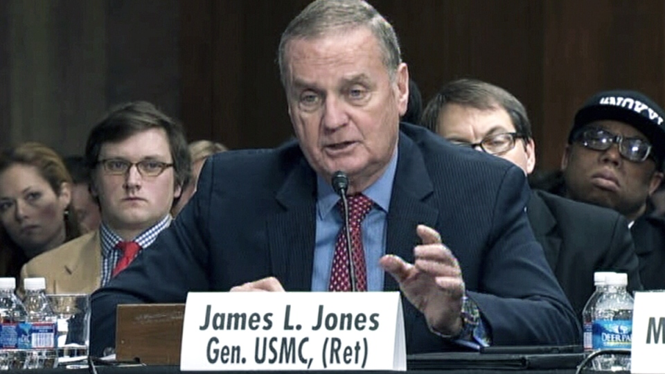 Retired Gen. James L. Jones testifies at a U.S. Senate hearing on the Keystone XL pipeline in Washington, Thursday, March 13, 2014.