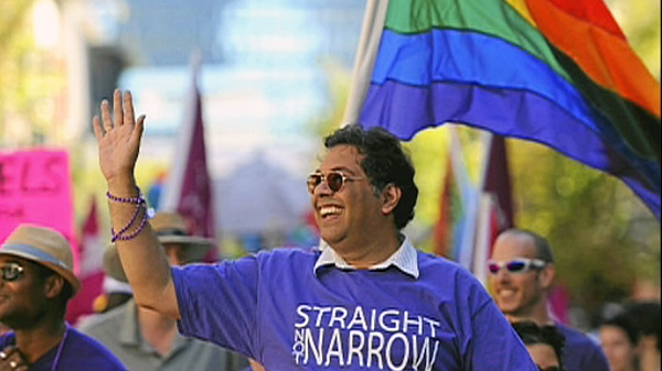 Naheed Nenshi is the first Calgary mayor to take on the role of grand marshall at the city's gay pride parade.