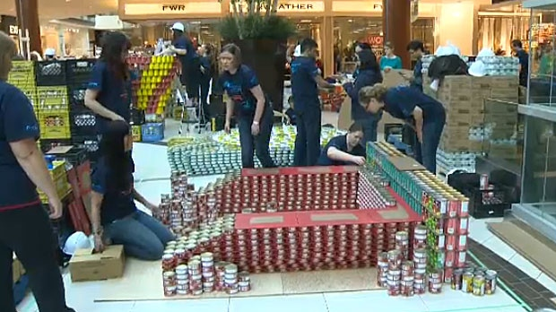 14 teams are taking part in this year's Canstruction Calgary Competition at South Centre Mall in support of the Calgary Food Bank.