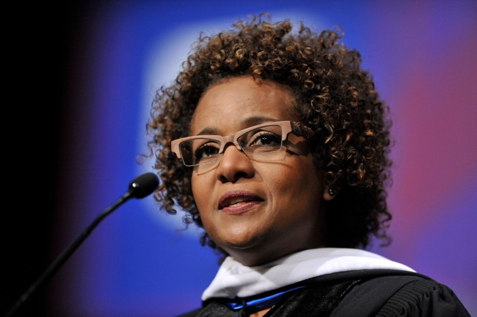Former Canadian Governor General Michaelle Jean addresses graduates during DePaul University's School For New Learning's commencement in Rosemont, Ill., Saturday, June 15, 2013. (AP / Paul Beaty)