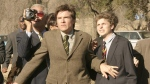 "In this undated publicity photo originally released by Fox, Jason Bateman, centre, and Michael Cera, right, are shown in a scene from the TV series ""Arrested Development."" (AP Photo/Fox, Sam Urdank, File)"