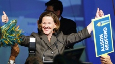 Alberta Progressive Conservative Alison Redford celebrates becoming leader of the party and the new premier following the second ballot in the party's leadership race in Edmonton, Alta., Saturday, Oct. 1, 2011. THE CANADIAN PRESS/Jeff McIntosh