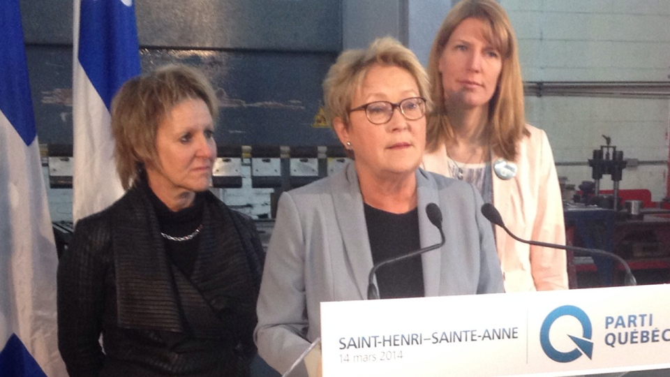Pauline Marois explains why wealth creation would improve social equality in St. Henri Ste. Anne on March 14, 2014 (Fred Bissonnette/CTV Montreal)